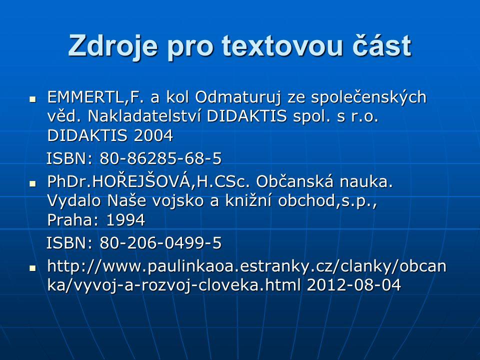 Zdroje pro textovou část EMMERTL,F. a kol Odmaturuj ze společenských věd. Nakladatelství DIDAKTIS spol. s r.o. DIDAKTIS 2004 EMMERTL,F. a kol Odmaturu