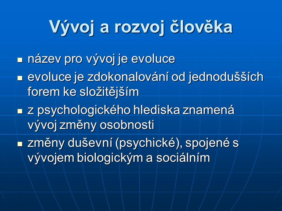 Vývoj a rozvoj člověka název pro vývoj je evoluce název pro vývoj je evoluce evoluce je zdokonalování od jednodušších forem ke složitějším evoluce je zdokonalování od jednodušších forem ke složitějším z psychologického hlediska znamená vývoj změny osobnosti z psychologického hlediska znamená vývoj změny osobnosti změny duševní (psychické), spojené s vývojem biologickým a sociálním změny duševní (psychické), spojené s vývojem biologickým a sociálním