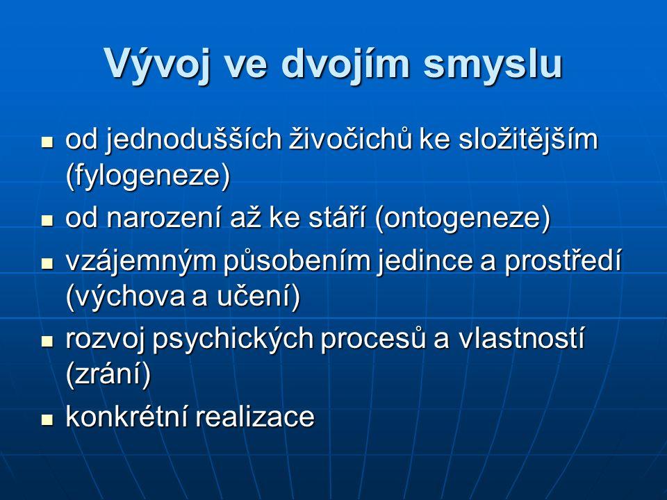 Vývoj ve dvojím smyslu od jednodušších živočichů ke složitějším (fylogeneze) od jednodušších živočichů ke složitějším (fylogeneze) od narození až ke s