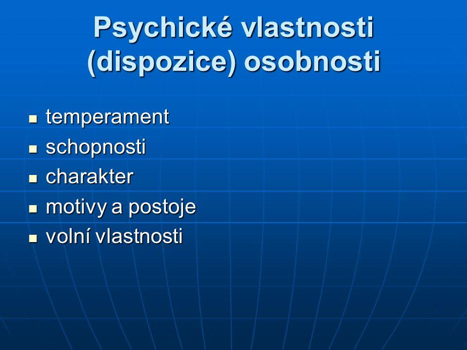 Psychické vlastnosti (dispozice) osobnosti temperament temperament schopnosti schopnosti charakter charakter motivy a postoje motivy a postoje volní v