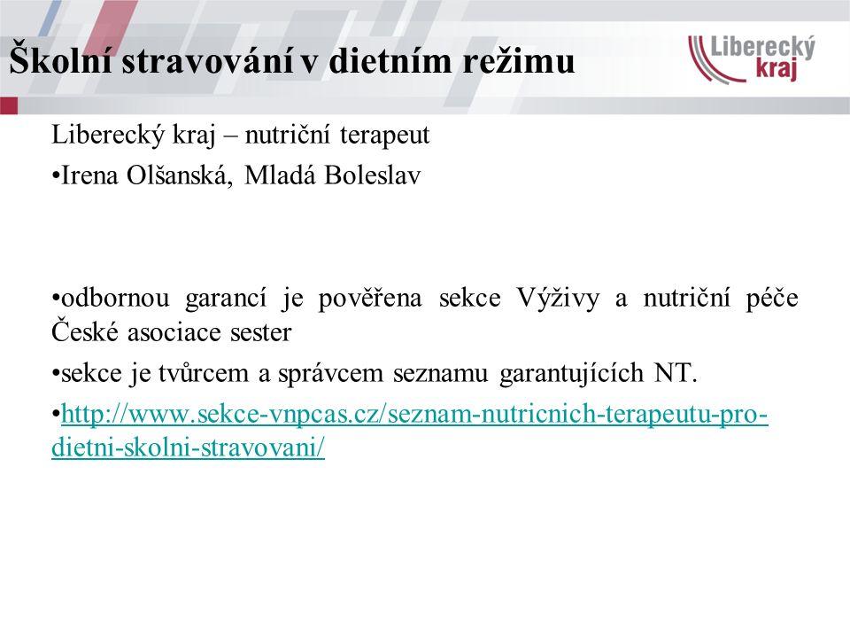 Liberecký kraj – nutriční terapeut Irena Olšanská, Mladá Boleslav odbornou garancí je pověřena sekce Výživy a nutriční péče České asociace sester sekce je tvůrcem a správcem seznamu garantujících NT.