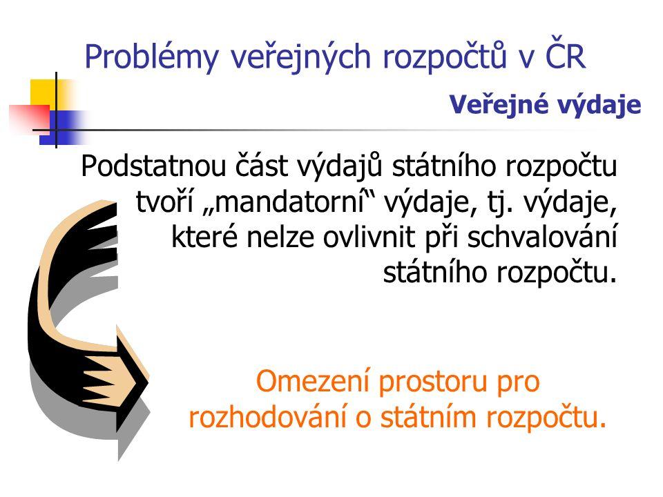 """Problémy veřejných rozpočtů v ČR Podstatnou část výdajů státního rozpočtu tvoří """"mandatorní výdaje, tj."""