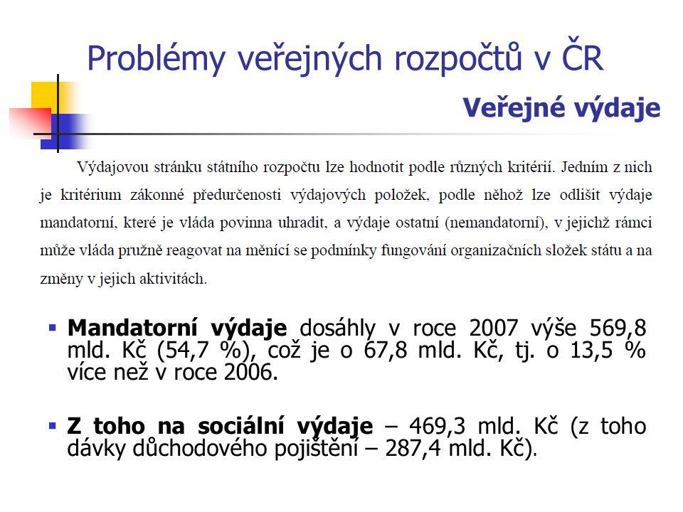 Problémy veřejných rozpočtů v ČR  Mandatorní výdaje dosáhly v roce 2007 výše 569,8 mld.