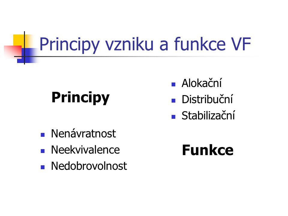 Principy vzniku a funkce VF Nenávratnost Neekvivalence Nedobrovolnost Alokační Distribuční Stabilizační Funkce Principy