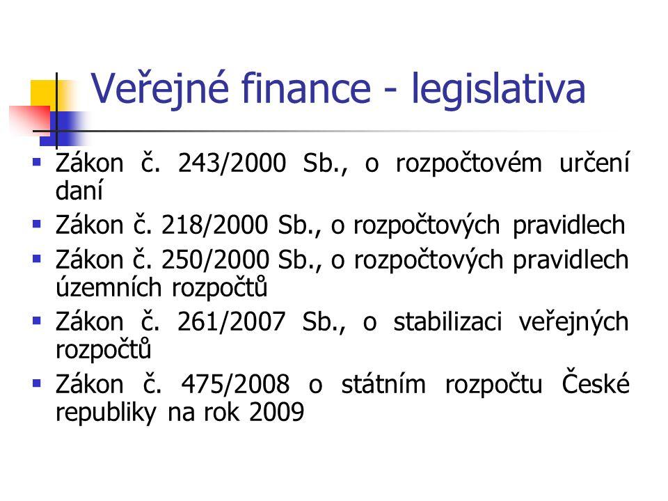 Veřejné finance - legislativa  Zákon č. 243/2000 Sb., o rozpočtovém určení daní  Zákon č.