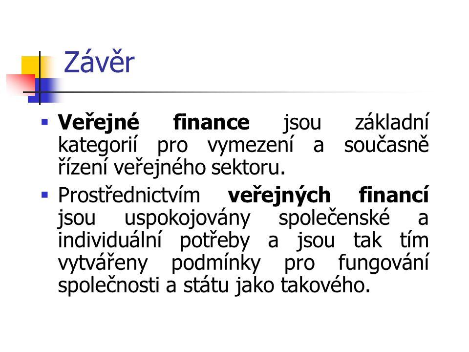 Závěr  Veřejné finance jsou základní kategorií pro vymezení a současně řízení veřejného sektoru.