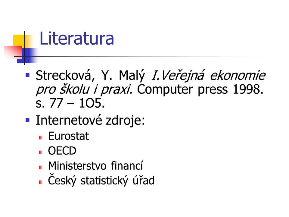 Literatura  Strecková, Y. Malý I.Veřejná ekonomie pro školu i praxi. Computer press 1998. s. 77 – 1O5.  Internetové zdroje: Eurostat OECD Ministerst