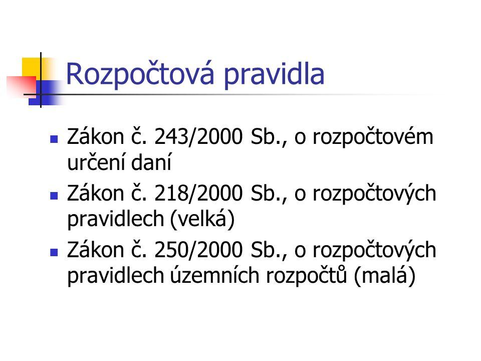 Rozpočtová pravidla Zákon č. 243/2000 Sb., o rozpočtovém určení daní Zákon č.