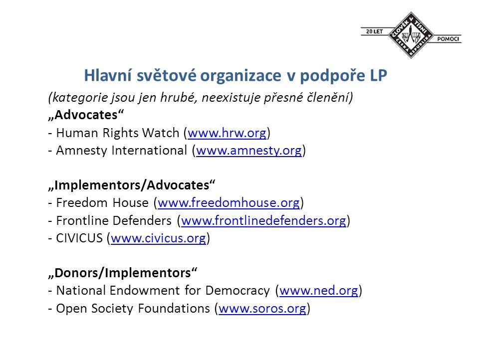 """Hlavní světové organizace v podpoře LP (kategorie jsou jen hrubé, neexistuje přesné členění) """"Advocates"""" - Human Rights Watch (www.hrw.org)www.hrw.org"""
