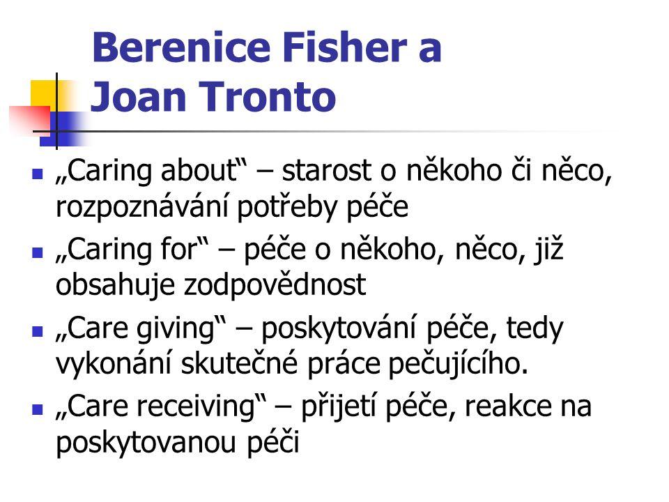 """Berenice Fisher a Joan Tronto """"Caring about – starost o někoho či něco, rozpoznávání potřeby péče """"Caring for – péče o někoho, něco, již obsahuje zodpovědnost """"Care giving – poskytování péče, tedy vykonání skutečné práce pečujícího."""