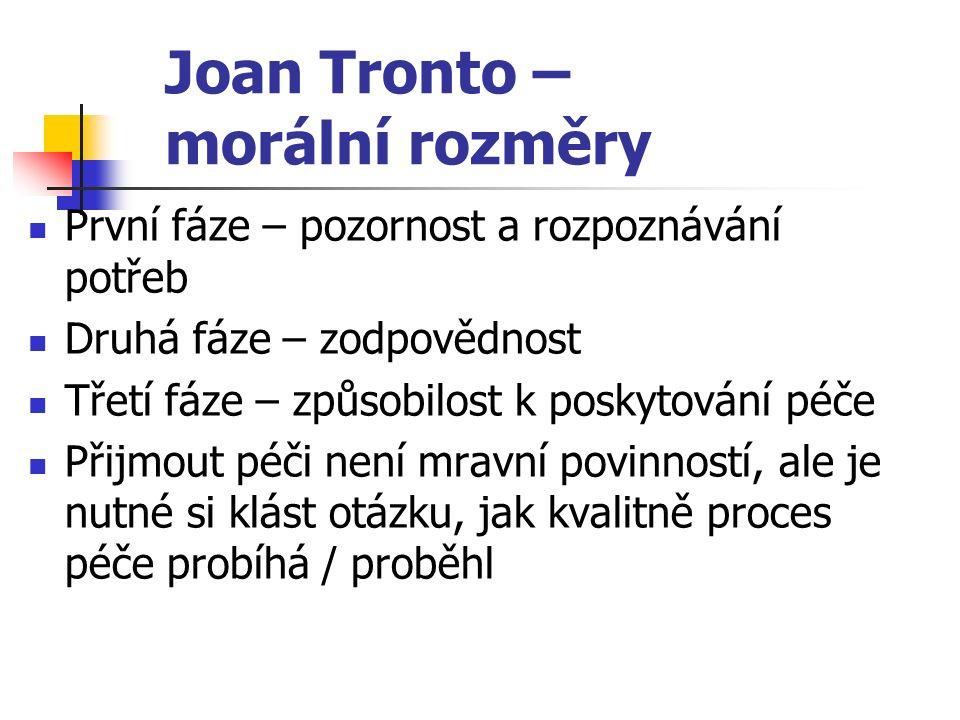 Joan Tronto – morální rozměry První fáze – pozornost a rozpoznávání potřeb Druhá fáze – zodpovědnost Třetí fáze – způsobilost k poskytování péče Přijm
