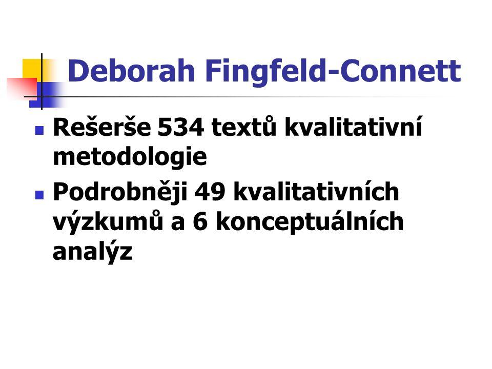 Deborah Fingfeld-Connett Rešerše 534 textů kvalitativní metodologie Podrobněji 49 kvalitativních výzkumů a 6 konceptuálních analýz