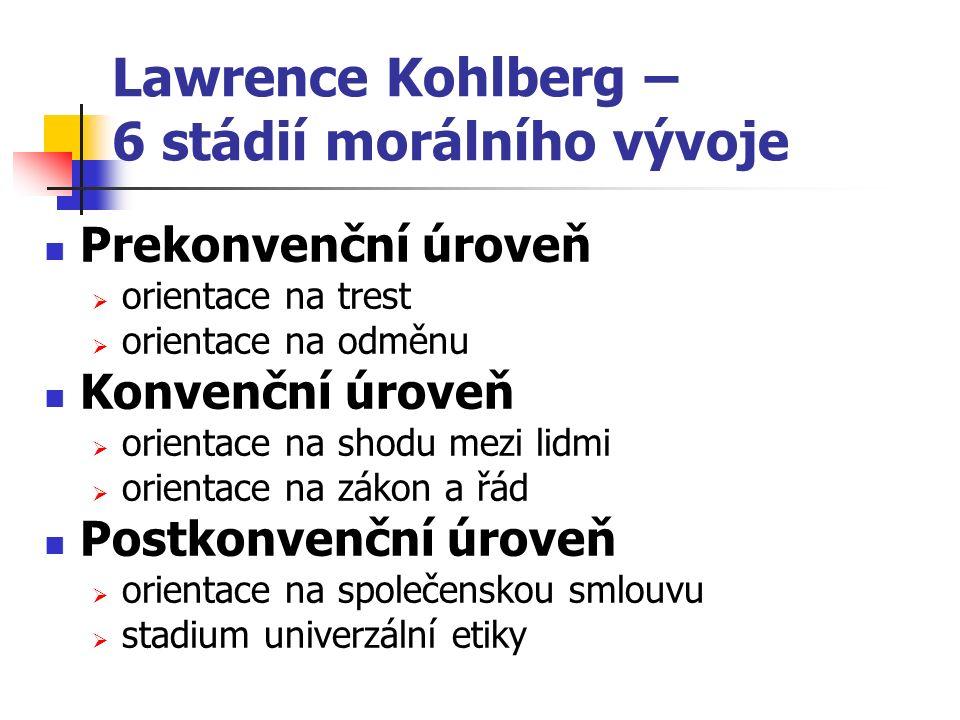 Lawrence Kohlberg – 6 stádií morálního vývoje Prekonvenční úroveň  orientace na trest  orientace na odměnu Konvenční úroveň  orientace na shodu mezi lidmi  orientace na zákon a řád Postkonvenční úroveň  orientace na společenskou smlouvu  stadium univerzální etiky