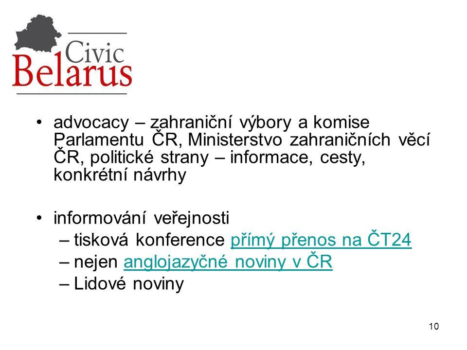 10 advocacy – zahraniční výbory a komise Parlamentu ČR, Ministerstvo zahraničních věcí ČR, politické strany – informace, cesty, konkrétní návrhy infor