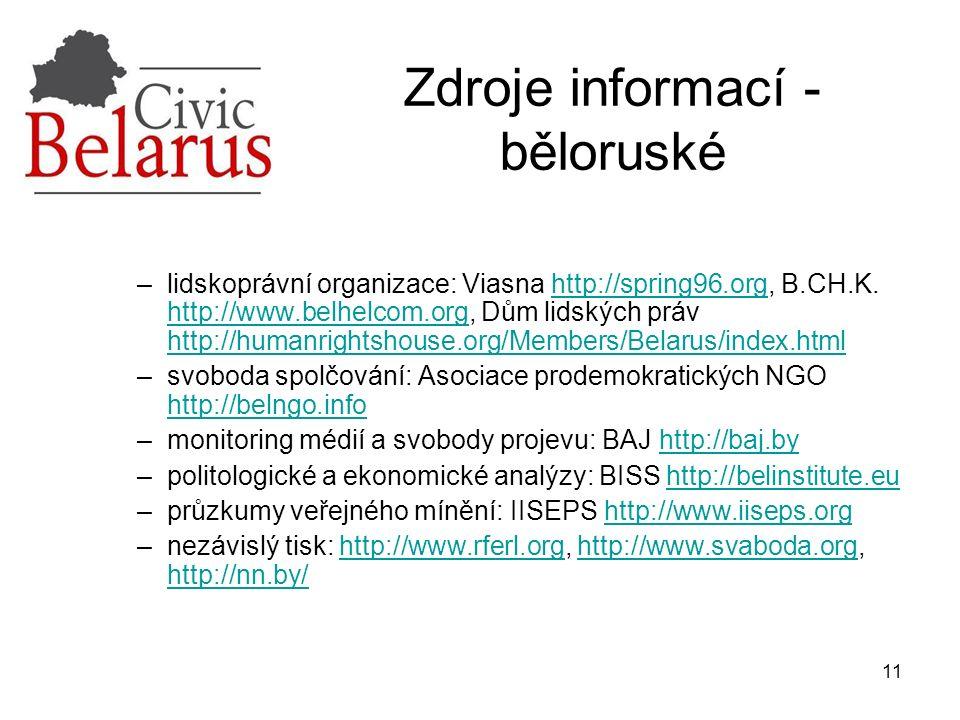 11 Zdroje informací - běloruské –lidskoprávní organizace: Viasna http://spring96.org, B.CH.K. http://www.belhelcom.org, Dům lidských práv http://human