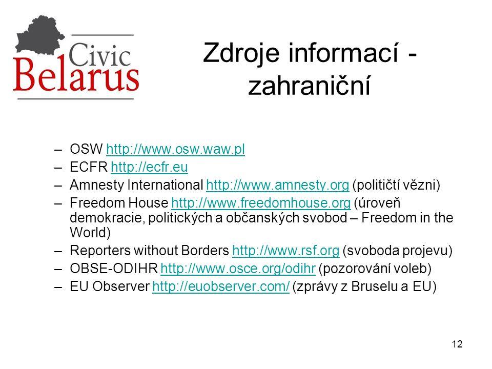 12 Zdroje informací - zahraniční –OSW http://www.osw.waw.plhttp://www.osw.waw.pl –ECFR http://ecfr.euhttp://ecfr.eu –Amnesty International http://www.amnesty.org (političtí vězni)http://www.amnesty.org –Freedom House http://www.freedomhouse.org (úroveň demokracie, politických a občanských svobod – Freedom in the World)http://www.freedomhouse.org –Reporters without Borders http://www.rsf.org (svoboda projevu)http://www.rsf.org –OBSE-ODIHR http://www.osce.org/odihr (pozorování voleb)http://www.osce.org/odihr –EU Observer http://euobserver.com/ (zprávy z Bruselu a EU)http://euobserver.com/