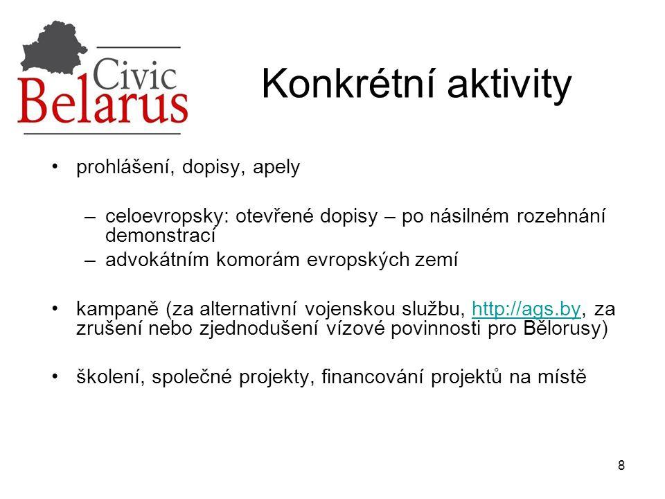 9 cílové skupiny: lidskoprávníci (finance, know-how pozorování voleb), právníci (kurzy), studenti (soutěž), ekologové (studijní cesty, inspirace) podpora nezávislých médií (OB – rádio http://euroradio.fm, Polsko - televize http://www.belsat.eu; letáky, nezávislé noviny)http://euroradio.fmhttp://www.belsat.eu publikace knih a překladů budování sítí a posilování organizací za pomoci zahraničních partnerů – (ekologové; OB a ČR podporují síť lidskoprávních organizací: běloruský Dům lidských práv ve Vilniusu http://humanrightshouse.org/Members/Belarus/index.html) http://humanrightshouse.org/Members/Belarus/index.html