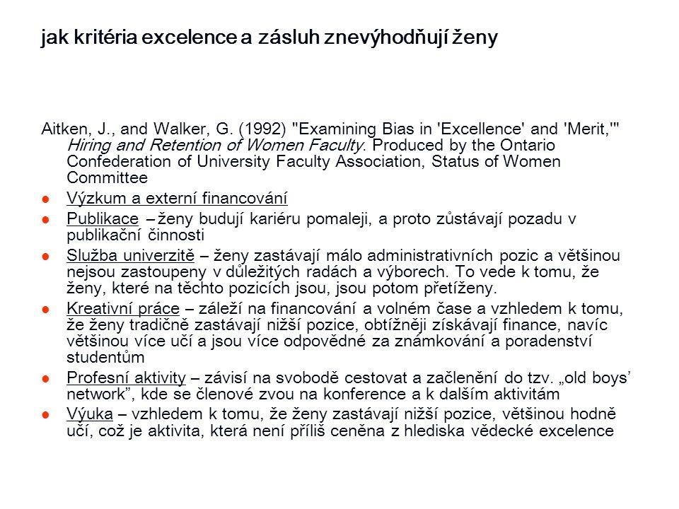 jak kritéria excelence a zásluh znevýhodňují ženy Aitken, J., and Walker, G. (1992)