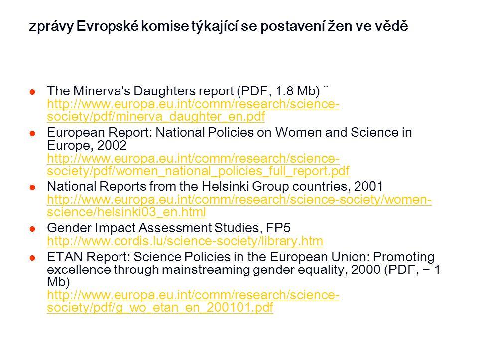 zprávy Evropské komise týkající se postavení žen ve vědě The Minerva's Daughters report (PDF, 1.8 Mb) ¨ http://www.europa.eu.int/comm/research/science