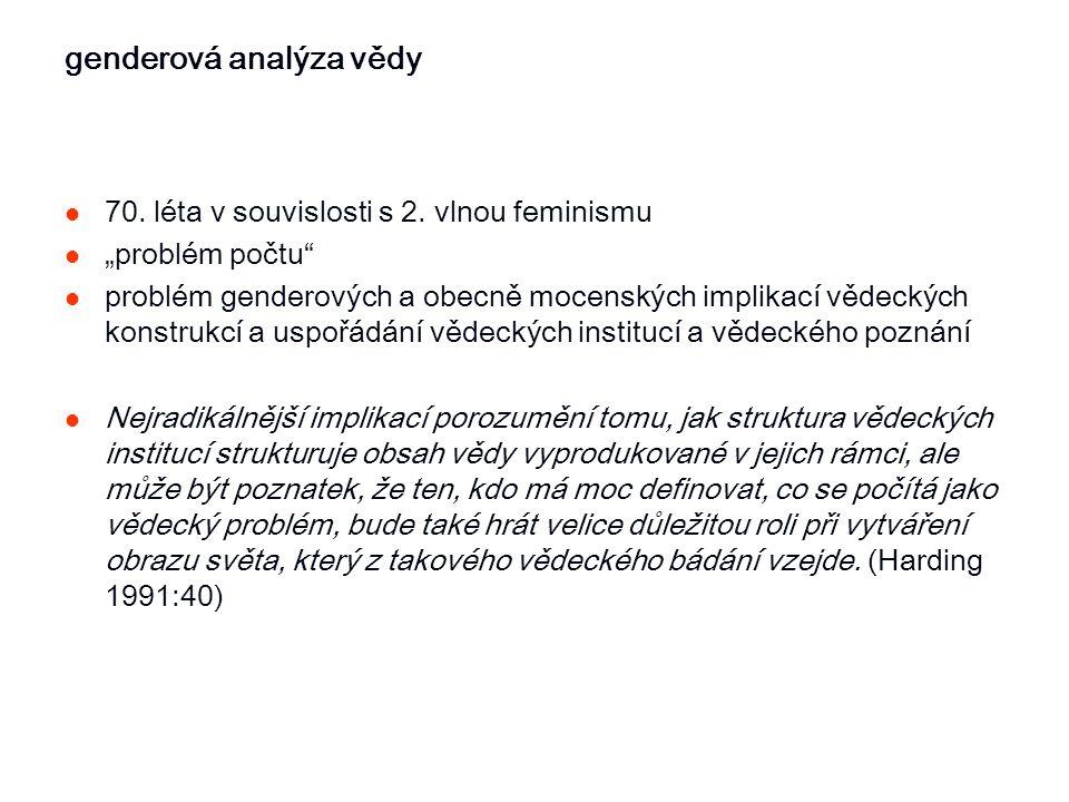"""genderová analýza vědy 70. léta v souvislosti s 2. vlnou feminismu """"problém počtu"""" problém genderových a obecně mocenských implikací vědeckých konstru"""