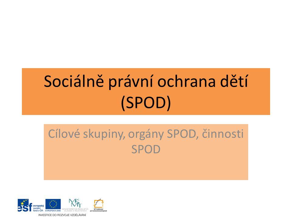 Sociálně právní ochrana dětí (SPOD) Cílové skupiny, orgány SPOD, činnosti SPOD