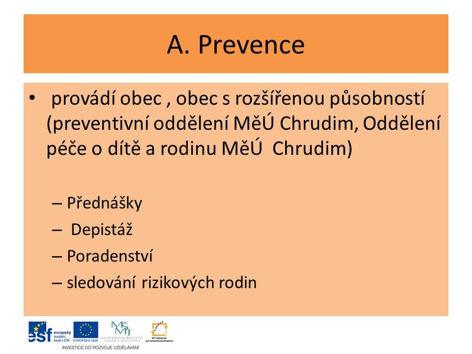 A. Prevence provádí obec, obec s rozšířenou působností (preventivní oddělení MěÚ Chrudim, Oddělení péče o dítě a rodinu MěÚ Chrudim) – Přednášky – Dep