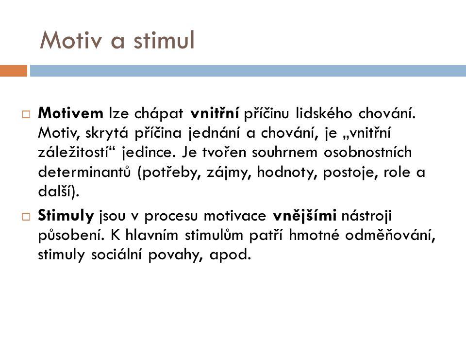 Motiv a stimul  Motivem lze chápat vnitřní příčinu lidského chování.