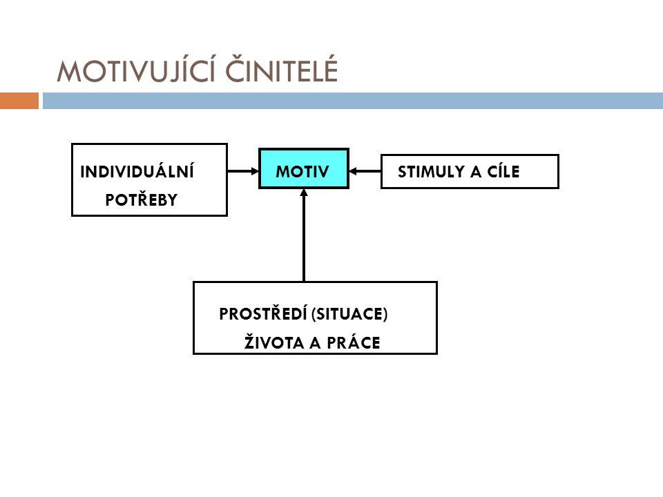 MOTIVUJÍCÍ ČINITELÉ INDIVIDUÁLNÍ MOTIV STIMULY A CÍLE POTŘEBY PROSTŘEDÍ (SITUACE) ŽIVOTA A PRÁCE