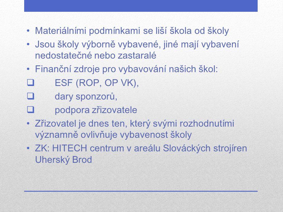 Materiálními podmínkami se liší škola od školy Jsou školy výborně vybavené, jiné mají vybavení nedostatečné nebo zastaralé Finanční zdroje pro vybavování našich škol:  ESF (ROP, OP VK),  dary sponzorů,  podpora zřizovatele Zřizovatel je dnes ten, který svými rozhodnutími významně ovlivňuje vybavenost školy ZK: HITECH centrum v areálu Slováckých strojíren Uherský Brod