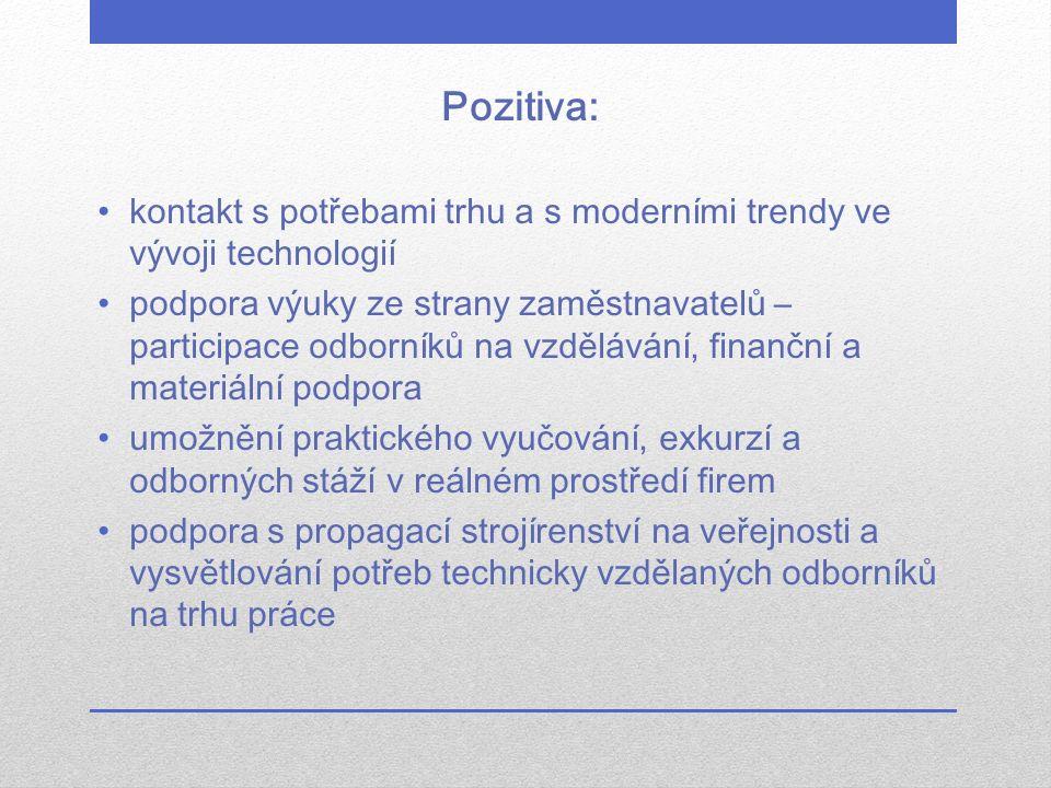 Pozitiva: kontakt s potřebami trhu a s moderními trendy ve vývoji technologií podpora výuky ze strany zaměstnavatelů – participace odborníků na vzdělá