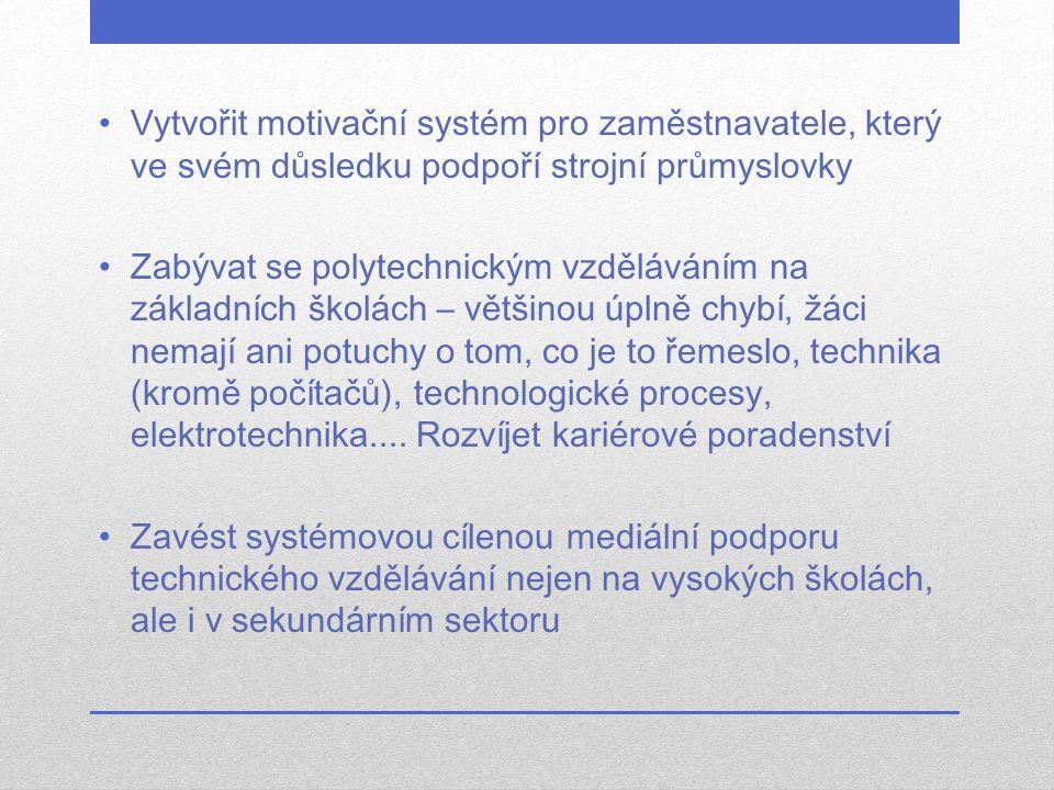 Vytvořit motivační systém pro zaměstnavatele, který ve svém důsledku podpoří strojní průmyslovky Zabývat se polytechnickým vzděláváním na základních š