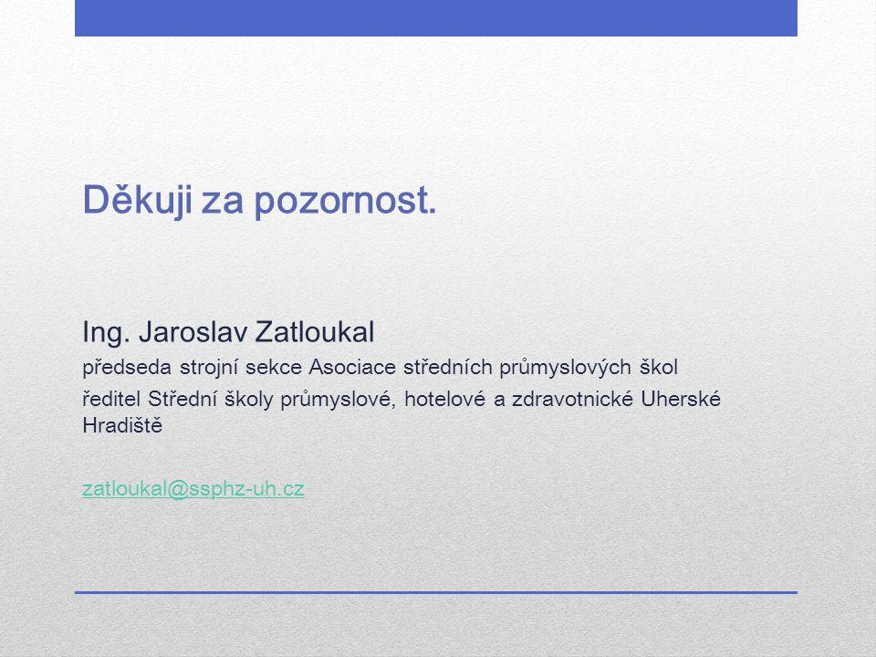 Děkuji za pozornost. Ing. Jaroslav Zatloukal předseda strojní sekce Asociace středních průmyslových škol ředitel Střední školy průmyslové, hotelové a