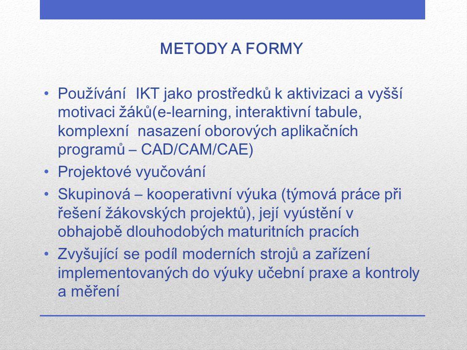 METODY A FORMY Používání IKT jako prostředků k aktivizaci a vyšší motivaci žáků(e-learning, interaktivní tabule, komplexní nasazení oborových aplikačn