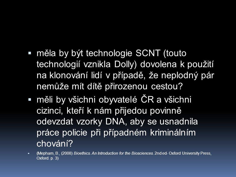  měla by být technologie SCNT (touto technologií vznikla Dolly) dovolena k použití na klonování lidí v případě, že neplodný pár nemůže mít dítě přirozenou cestou.