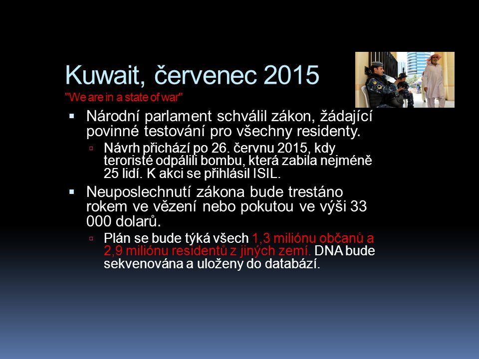 Kuwait, červenec 2015 We are in a state of war  Národní parlament schválil zákon, žádající povinné testování pro všechny residenty.