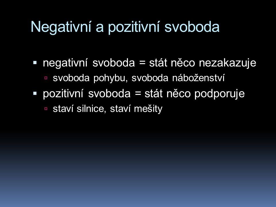 Negativní a pozitivní svoboda  negativní svoboda = stát něco nezakazuje  svoboda pohybu, svoboda náboženství  pozitivní svoboda = stát něco podporu