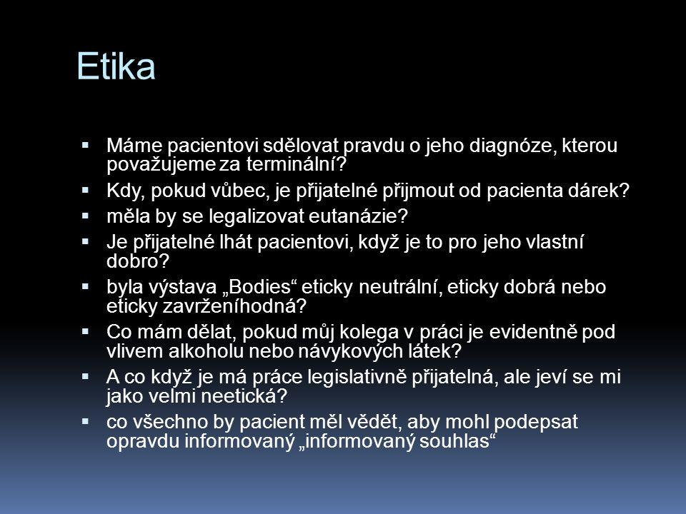 Etika  Máme pacientovi sdělovat pravdu o jeho diagnóze, kterou považujeme za terminální.
