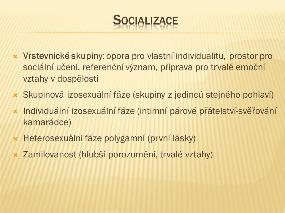  Vrstevnické skupiny: opora pro vlastní individualitu, prostor pro sociální učení, referenční význam, příprava pro trvalé emoční vztahy v dospělosti  Skupinová izosexuální fáze (skupiny z jedinců stejného pohlaví)  Individuální izosexuální fáze (intimní párové přátelství-svěřování kamarádce)  Heterosexuální fáze polygamní (první lásky)  Zamilovanost (hlubší porozumění, trvalé vztahy)