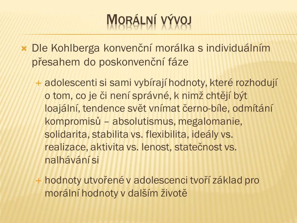  Dle Kohlberga konvenční morálka s individuálním přesahem do poskonvenční fáze  adolescenti si sami vybírají hodnoty, které rozhodují o tom, co je či není správné, k nimž chtějí být loajální, tendence svět vnímat černo-bíle, odmítání kompromisů – absolutismus, megalomanie, solidarita, stabilita vs.