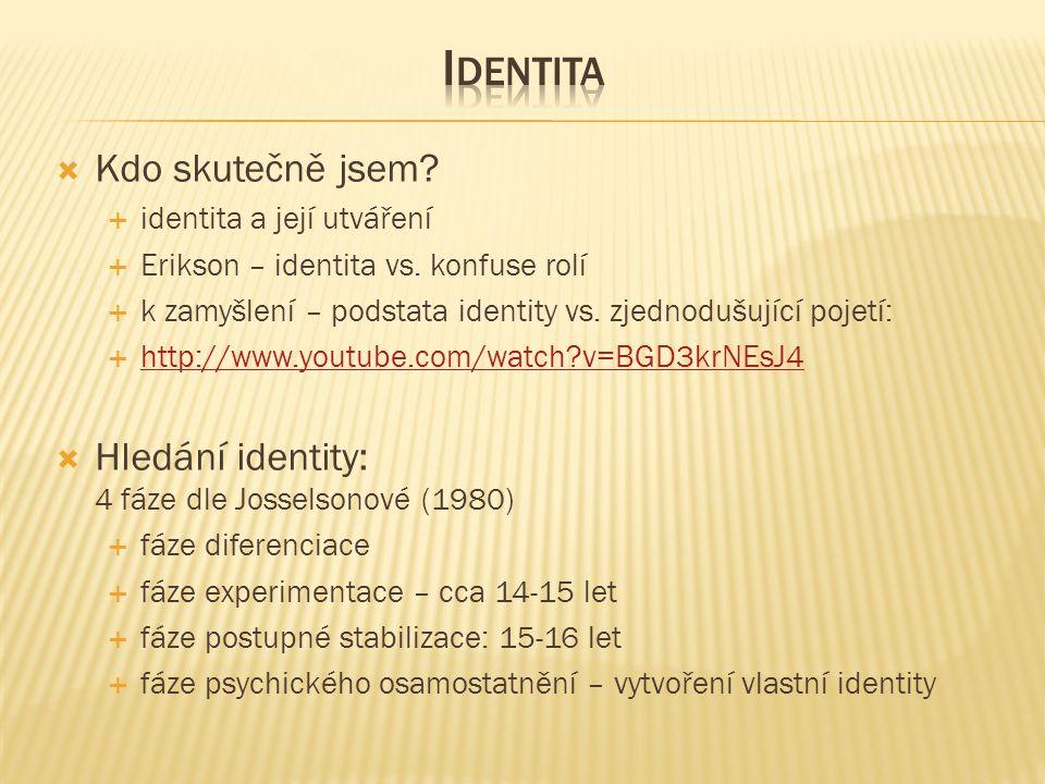  Kdo skutečně jsem.  identita a její utváření  Erikson – identita vs.