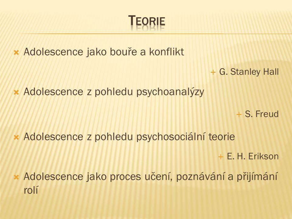  Adolescence jako bouře a konflikt  G. Stanley Hall  Adolescence z pohledu psychoanalýzy  S.