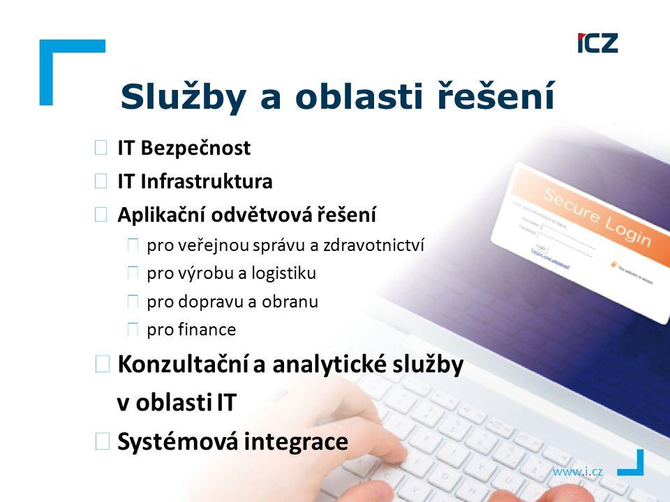 www.i.cz Služby a oblasti řešení ▶ IT Bezpečnost ▶ IT Infrastruktura ▶ Aplikační odvětvová řešení ▶ pro veřejnou správu a zdravotnictví ▶ pro výrobu a