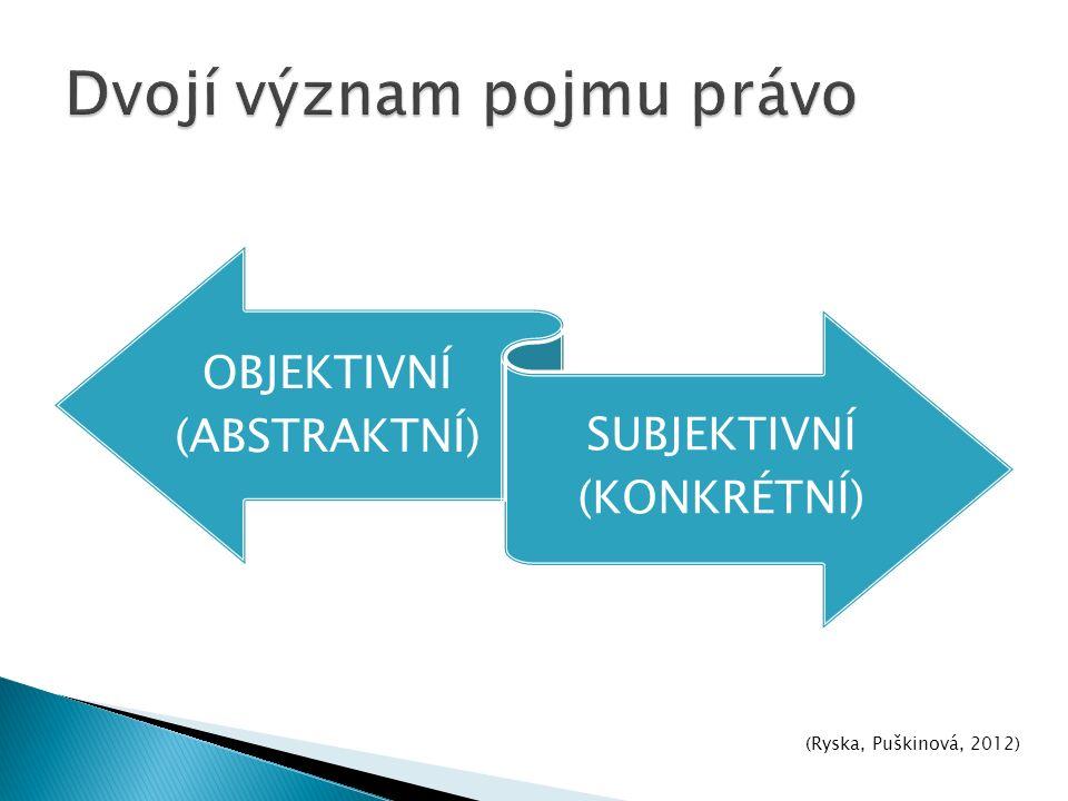OBJEKTIVNÍ (ABSTRAKTNÍ) SUBJEKTIVNÍ (KONKRÉTNÍ) (Ryska, Puškinová, 2012)