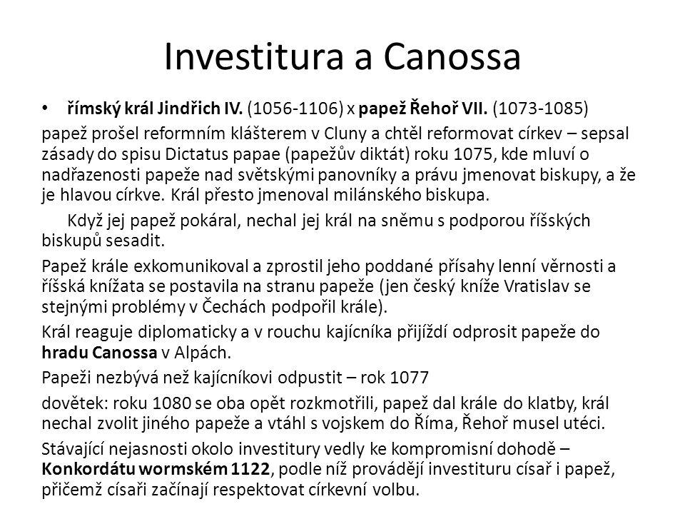 Investitura a Canossa římský král Jindřich IV. (1056-1106) x papež Řehoř VII.