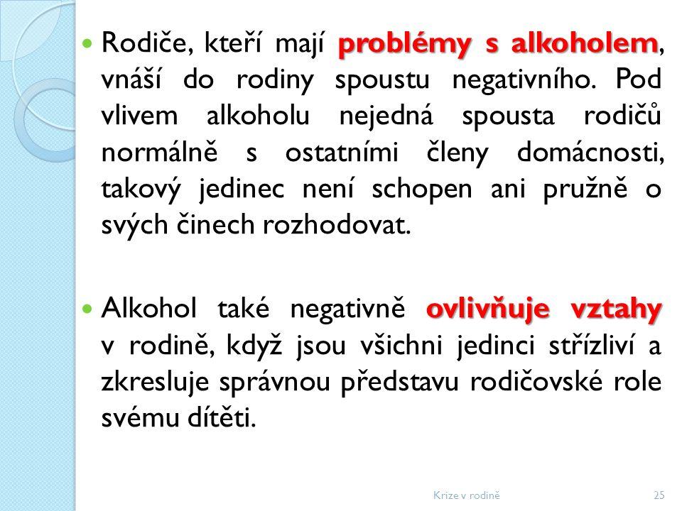 problémy s alkoholem Rodiče, kteří mají problémy s alkoholem, vnáší do rodiny spoustu negativního.
