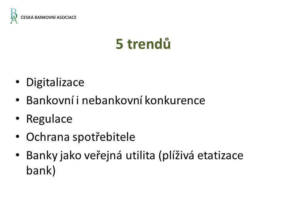 5 trendů Digitalizace Bankovní i nebankovní konkurence Regulace Ochrana spotřebitele Banky jako veřejná utilita (plíživá etatizace bank)
