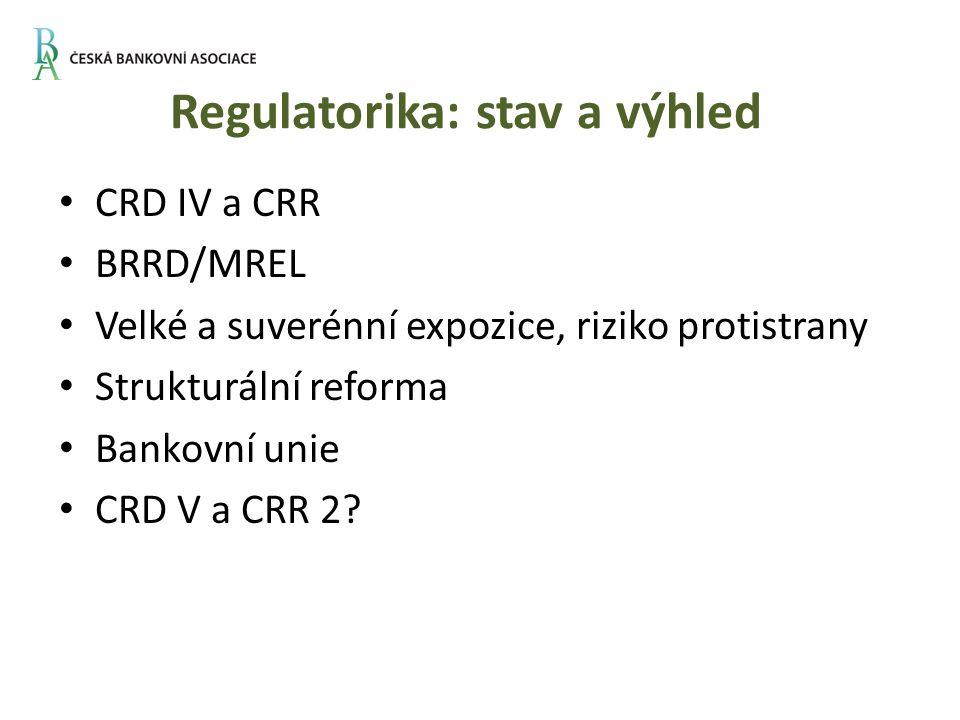 Regulatorika: stav a výhled CRD IV a CRR BRRD/MREL Velké a suverénní expozice, riziko protistrany Strukturální reforma Bankovní unie CRD V a CRR 2?