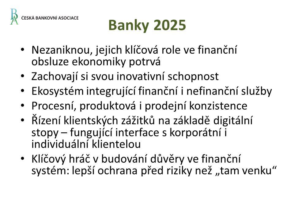 """Banky 2025 Nezaniknou, jejich klíčová role ve finanční obsluze ekonomiky potrvá Zachovají si svou inovativní schopnost Ekosystém integrující finanční i nefinanční služby Procesní, produktová i prodejní konzistence Řízení klientských zážitků na základě digitální stopy – fungující interface s korporátní i individuální klientelou Klíčový hráč v budování důvěry ve finanční systém: lepší ochrana před riziky než """"tam venku"""