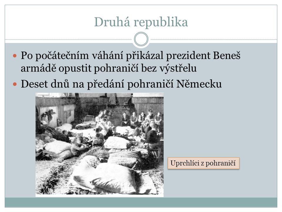 Druhá republika Po počátečním váhání přikázal prezident Beneš armádě opustit pohraničí bez výstřelu Deset dnů na předání pohraničí Německu Uprchlíci z pohraničí