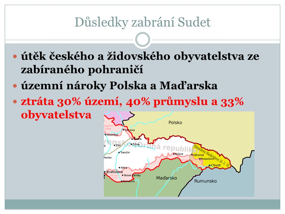 Důsledky zabrání Sudet útěk českého a židovského obyvatelstva ze zabíraného pohraničí územní nároky Polska a Maďarska ztráta 30% území, 40% průmyslu a 33% obyvatelstva
